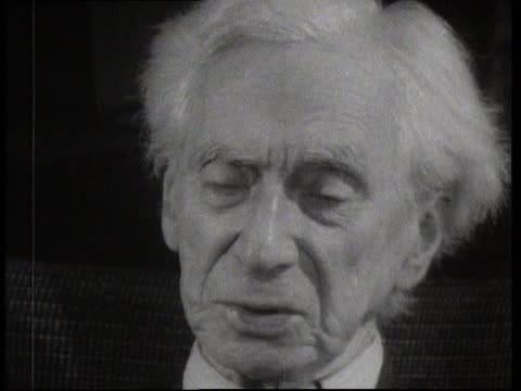 stockvideo's en b-roll-footage met bertrand russell opines about the future of humanity and pleads for greater tolerance. - 50 seconds or greater