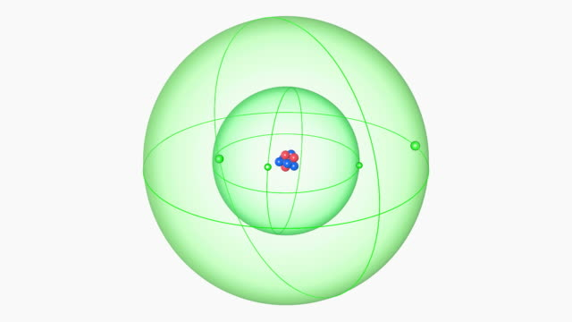 beryllium atom. diagram of an atom of the element beryllium, showing the central nucleus surrounded by electron orbitals. - neutron stock-videos und b-roll-filmmaterial