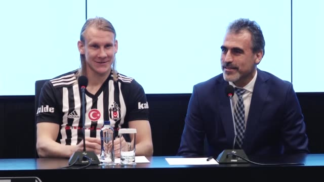 besiktas chairman fikret orman introduces new player domagoj vida during a press conference at vodafone park stadium in istanbul turkey on january 03... - besiktas stock videos and b-roll footage