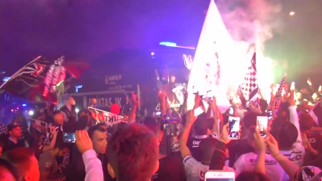 besiktas fans celebrate after besiktas won their 15th turkish spor toto super lig title by defeating gaziantepspor 40 outside the bjk nevzat demir... - sports league stock videos & royalty-free footage