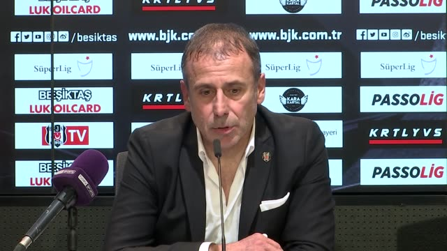 besiktas' head coach abdullah avci holds a press conference following the turkish super lig derby match between besiktas and galatasaray at vodafone... - sportliga stock-videos und b-roll-filmmaterial