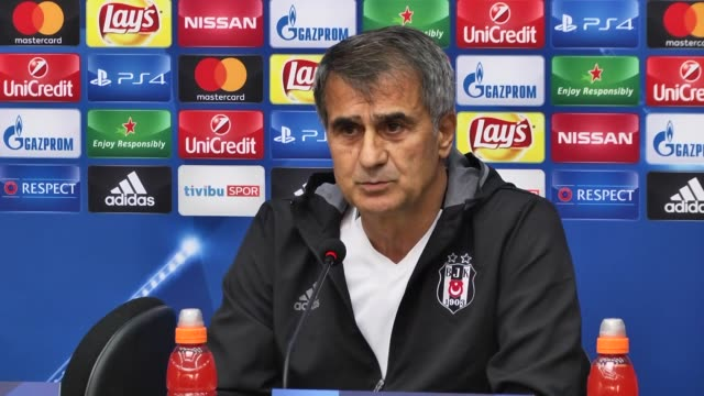 besiktas' head coach senol gunes and defender andreas beck attend a press conference at bjk nevzat demir facilities in istanbul turkey on september... - senol guenes stock videos and b-roll footage