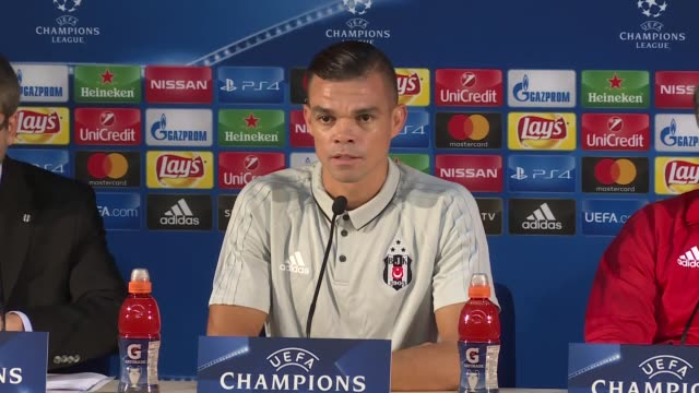 besiktas head coach senol gunes and defender pepe attend a press conference on the eve of the uefa champions league group g football match against fc... - senol guenes stock videos and b-roll footage