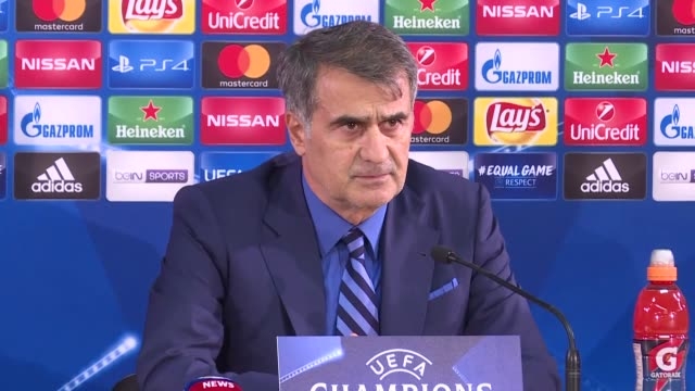 Besiktas' head coach Senol Gunes attends a press conference following the UEFA Champions League Group G soccer match between AS Monaco and Besiktas...
