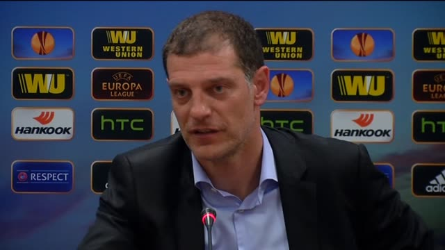 Besiktas' head coach Slaven Bilic speaks during a press conference after the UEFA Europa League Round of 32 soccer match between Besiktas and...