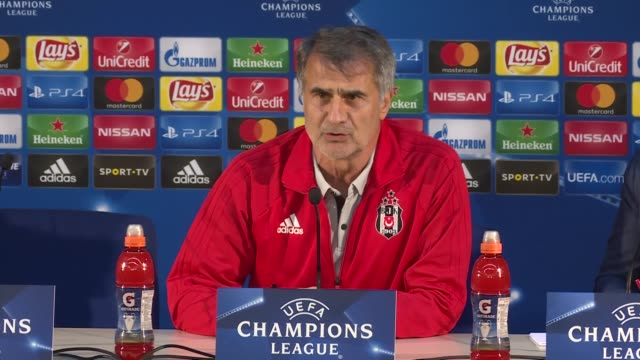 besiktas headcoach senol gunes attends a press conference on the eve of the uefa champions league group g football match against fc porto at dragao... - senol guenes stock videos and b-roll footage
