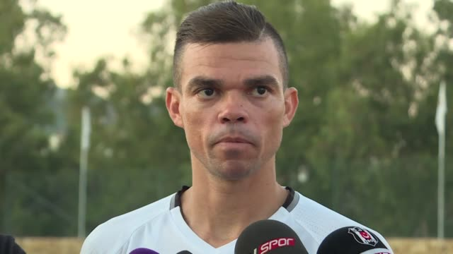 Besiktas' Pepe speaks to the media following a training session during his team's preseason camp in Marbella Spain on July 23 2017 Portuguese...