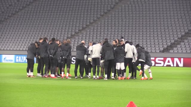 Besiktas' players attend a training session led by head coach Senol Gunes on February 19 2018 in Munich Germany Besiktas JK will face FC Bayern...