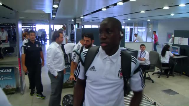 Besiktas players leave from the Sabiha Gokcen airport in order to go to London ahead of the UEFA Champions League playoff match with Arsenal on...