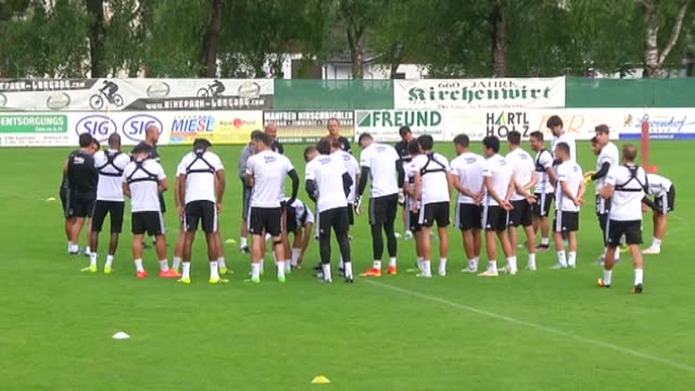 besiktas' players take part in a training session led by head coach senol gunes during the training camp of besiktas for the new season in leogang... - senol guenes stock videos and b-roll footage