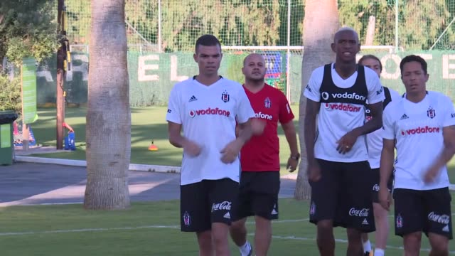 besiktas players take part in a training session led by head coach senol gunes during the preseason camp in marbella spain on july 23 2017 portuguese... - senol guenes stock videos and b-roll footage
