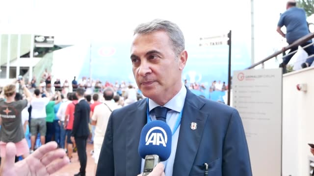 besiktas' president fikret orman speaks to the press after uefa held champions league group stage draw on august 24 2017 in monaco france turkish... - uefa champions league stock videos and b-roll footage
