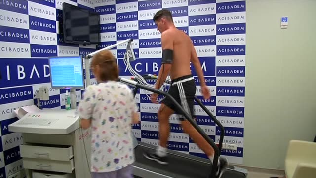 Besiktas's new transfer German footballer Mario Gomez undergoes a medical examination at a hospital on July 31 2015 in Istanbul Turkey