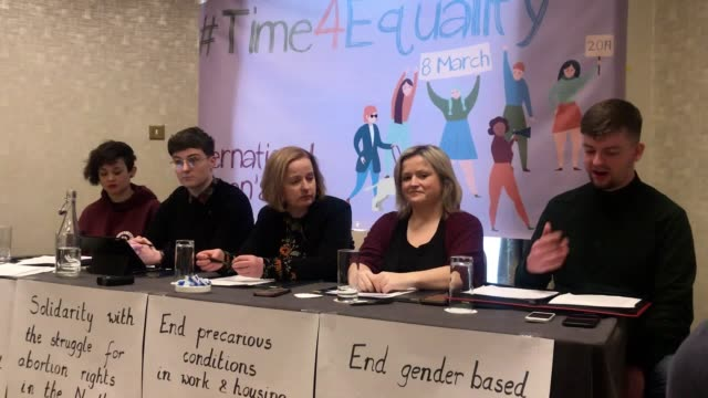 best audio available. keisha taylor, aisling cusack, ruth coppinger, leona o'callaghan and neil moore speak at buswells hotel in dublin as trade and... - audio available bildbanksvideor och videomaterial från bakom kulisserna