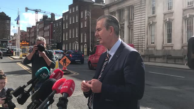 """stockvideo's en b-roll-footage met best audio available. new dup leader edwin poots said he would be having """"very frank discussions"""" with the taoiseach micheal martin about the... - audio available"""