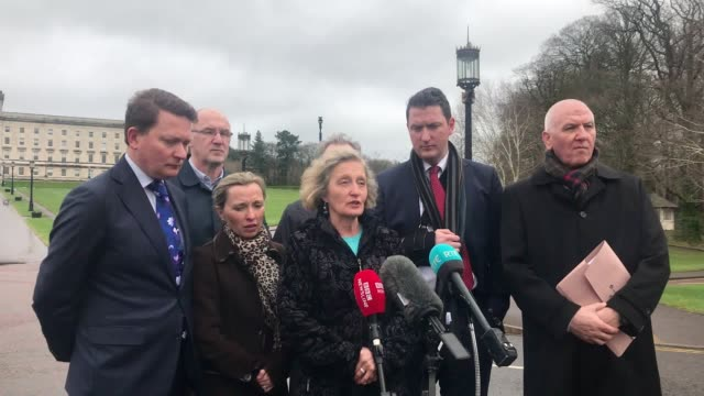 stockvideo's en b-roll-footage met best audio available relatives of murdered belfast solicitor pat finucane, including his wife geraldine, outside stormont following their meeting... - audio available