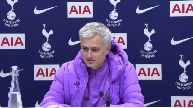 stockvideo's en b-roll-footage met *best audio available* tottenham manager jose mourinho press conference ahead of their game against burnely. he says his team must stop conceding... - audio available