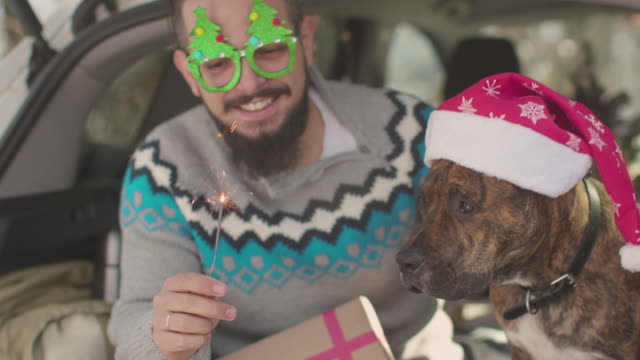 best friends celebrating christmas inside the car - occhiali da vista video stock e b–roll
