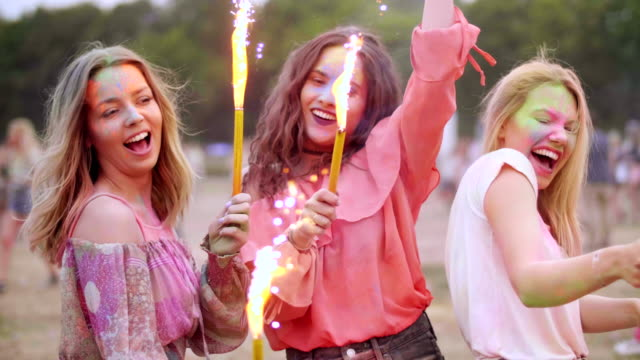best friends celebrating together/ krakow/ poland - festival goer stock videos & royalty-free footage