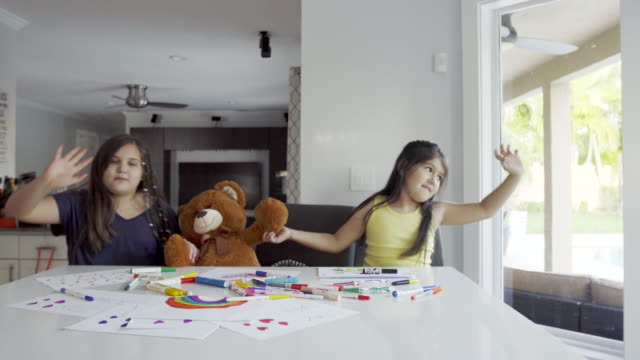 best friends painting and dancing in the kitchen - teddy bear stock videos & royalty-free footage