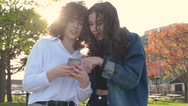 best friends, teenage girls looking at smart phone - see other clips from this shoot 15 stock videos and b-roll footage