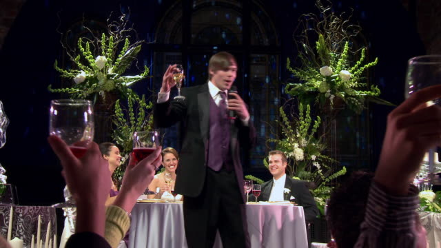 po best man makes toast as guests raise glasses - best man stock videos and b-roll footage