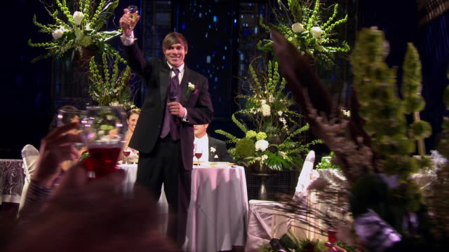 dolly ws best man makes toast as others raise their glasses - best man stock videos and b-roll footage