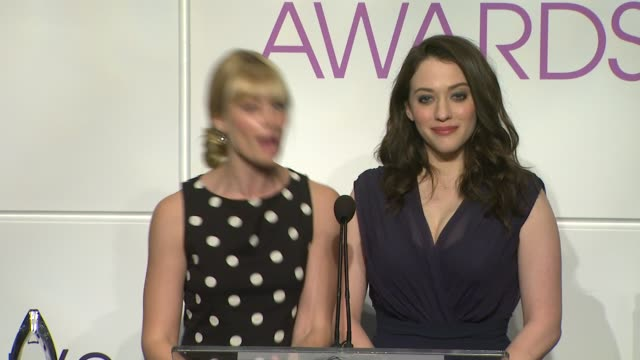 beth behrs kat dennings announce the nominees at the 2014 people's choice awards nominations announcement in beverly hills 11/05/13 - people's choice awards stock videos & royalty-free footage