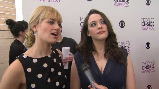 interview beth behrs kat dennings on hosting the show and being nominated at the 2014 people's choice awards nominations announcement in beverly... - people's choice awards stock videos & royalty-free footage