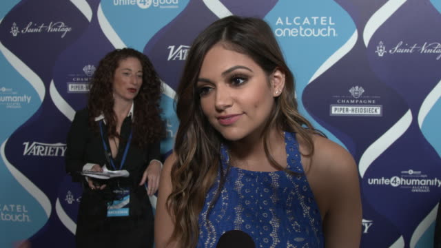 vídeos y material grabado en eventos de stock de interview bethany mota on why she thinks the entertainment industry can have an impact in changing perceptions for the better at the 2nd annual... - fiesta de los óscar