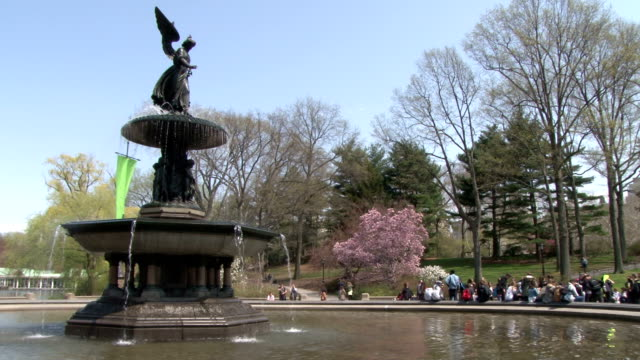 bethesda fountain- central park nyc springtime - female likeness stock videos & royalty-free footage