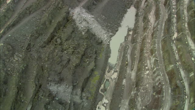 aerial, bethesda slate quarry, conwy, wales - quarry stock videos & royalty-free footage