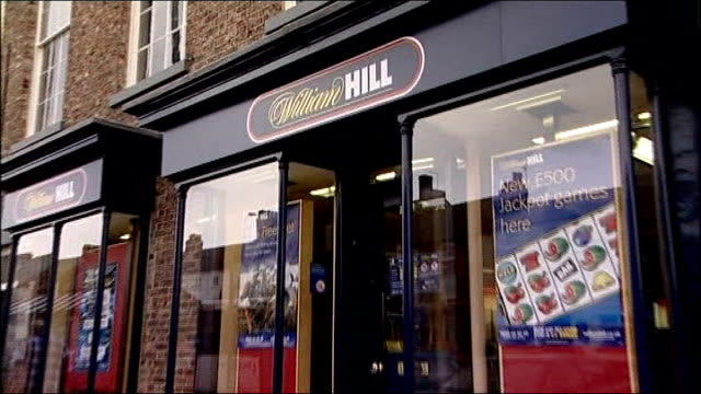 First betting shop millionaire collects his winnings Thirsk EXT Exterior of William Hill betting shop where Fred placed his bet Close Shot of Fred's...