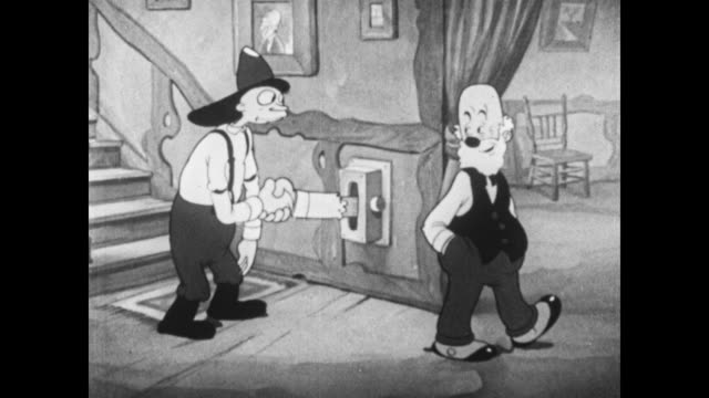 Betty Boop and friends arrive at Grampy's house for a party, shake hands with Grampy's hand shaking invention