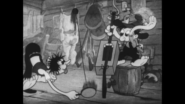 Betty Boop dances while a backwoods family plays makeshift instruments