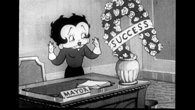 Betty Boop prepares office for new mayor