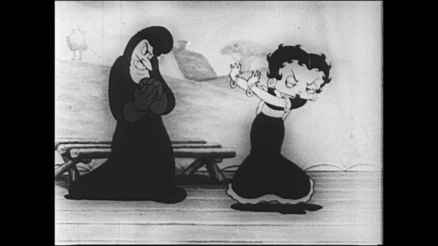 betty boop sings song of rejection towards villain trying to woo her - schurke stock-videos und b-roll-filmmaterial