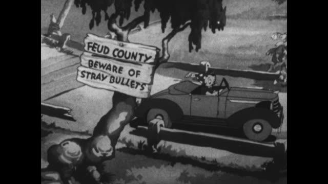 vidéos et rushes de betty boop's car breaks down on a winding mountain road - route sinueuse