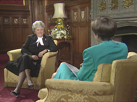 betty boothroyd begins job as speaker:; b)nao: england: london: westminster: hop: int cms betty boothroyd intvwd sof - it is not a problem that i am... - itv news at one stock videos & royalty-free footage