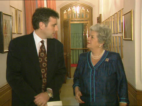 betty boothroyd interview:; england: london: westminster: houses of parliament: dermot murnaghan & boothroyd towards chatting - itv news at one stock videos & royalty-free footage