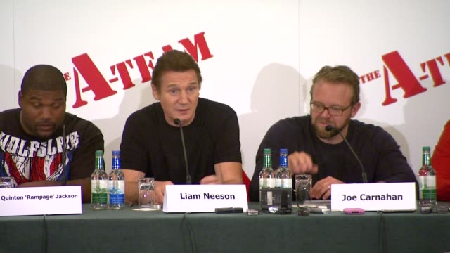 between the actors. at the the a-team press conference at london england. - chemistry点の映像素材/bロール