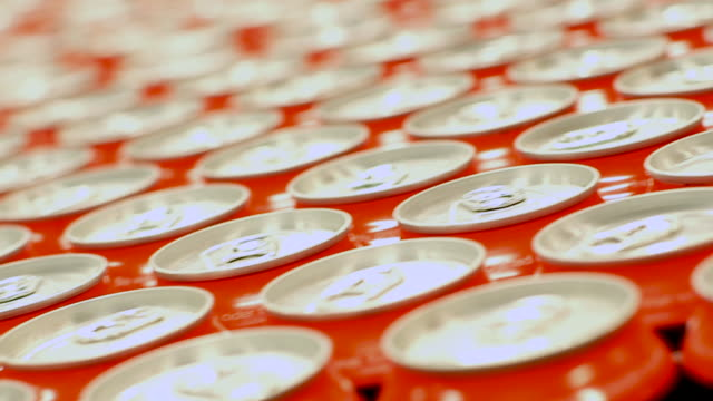 beverage cans with pop tabs - production line stock videos & royalty-free footage