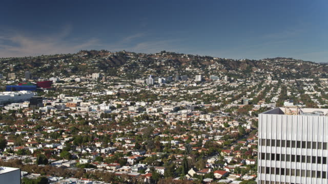 beverly grove and fairfax, los angeles - aerial view - marin stock videos & royalty-free footage