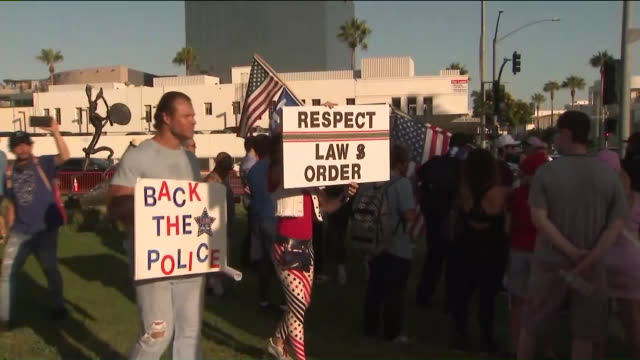 beverly hills, ca, u.s. - donald trump supporters at protestors on saturday, august 15, 2020. - confrontation stock videos & royalty-free footage