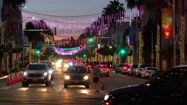 beverly hills christmas - fairy lights stock videos & royalty-free footage