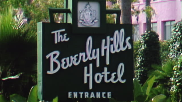 zo beverly hills hotel, beverly hills - entrance sign stock videos & royalty-free footage