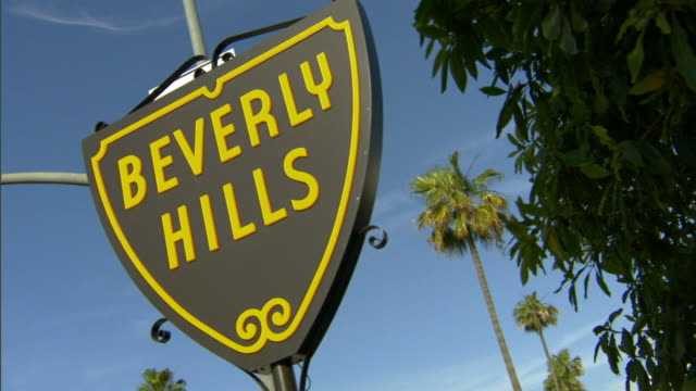 cu, canted, beverly hills sign against clear sky, beverly hills, california, usa california, usa - beverly hills california stock videos and b-roll footage