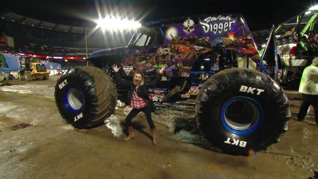 Beverly Mitchell at Monster Jam Celebrity Event at Angel Stadium on January 12 2019 in Anaheim California