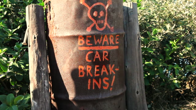 beware notice on waste bin outdoors - imperfection stock videos & royalty-free footage
