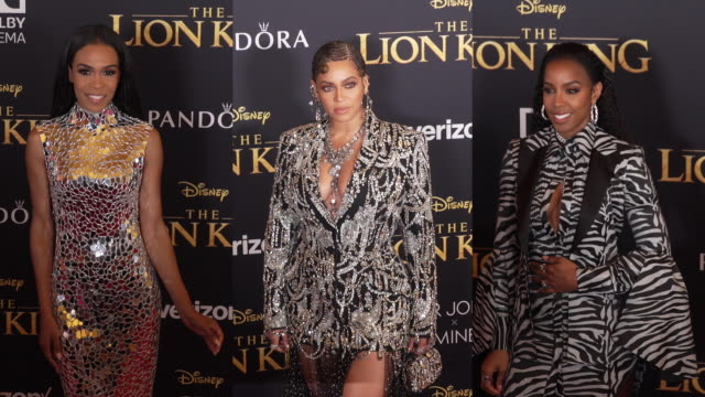 beyoncé kelly rowland and michelle williams at the world premiere of disney's the lion king at dolby theatre on july 09 2019 in hollywood california - beyoncé knowles stock videos & royalty-free footage